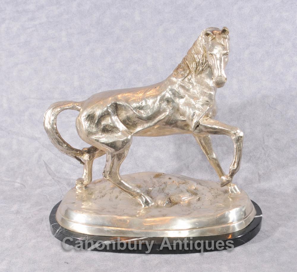 Französisch Bronze Silber plattiert Pferdestatue von Mene
