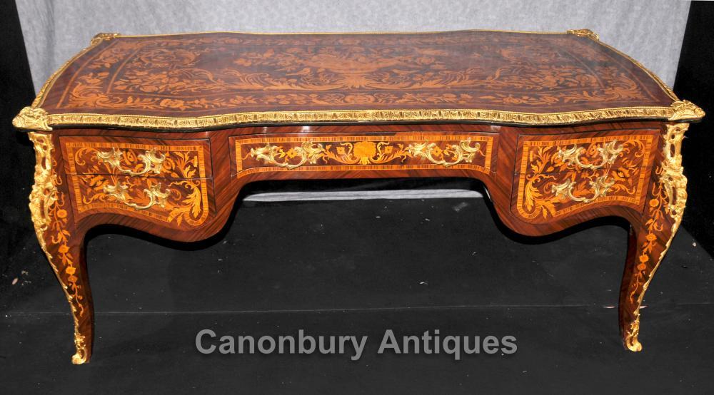 Französisch Louis XVI Bureau Plat Schreibtisch Schreibtisch Intarsien
