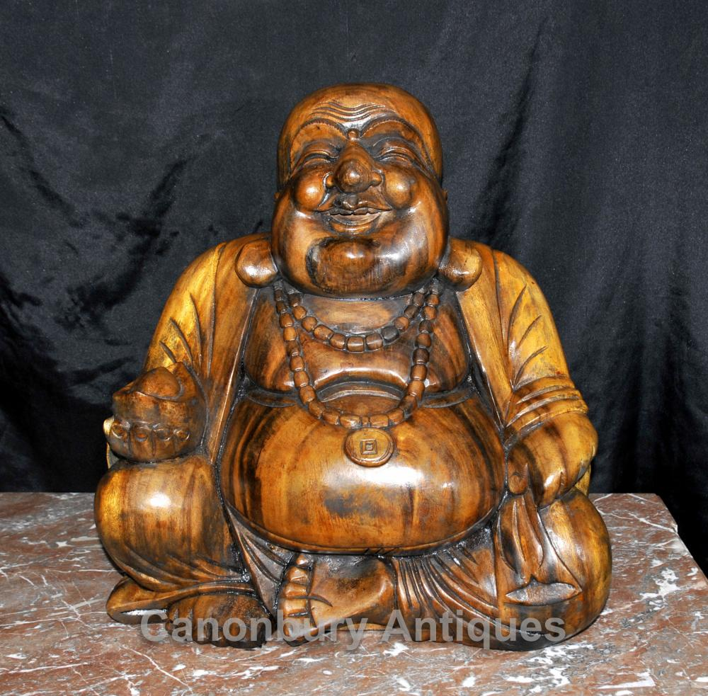 Hand geschnitzt Happy Buddha-Statue-Figürchen Buddhistische Kunst Buddhismus