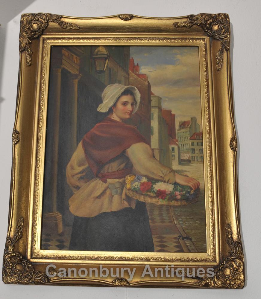 Italienisch Ölgemälde Maiden Blumen-Verkäufer Porträt Kunst