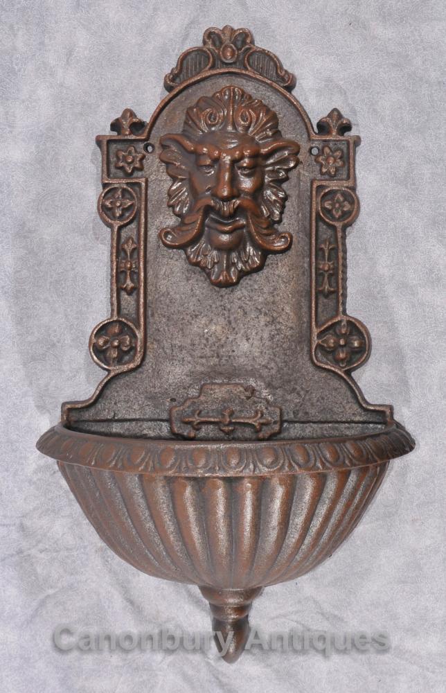 Italienisch Cast Iron Barock Wandbrunnen Font Male Grotesque