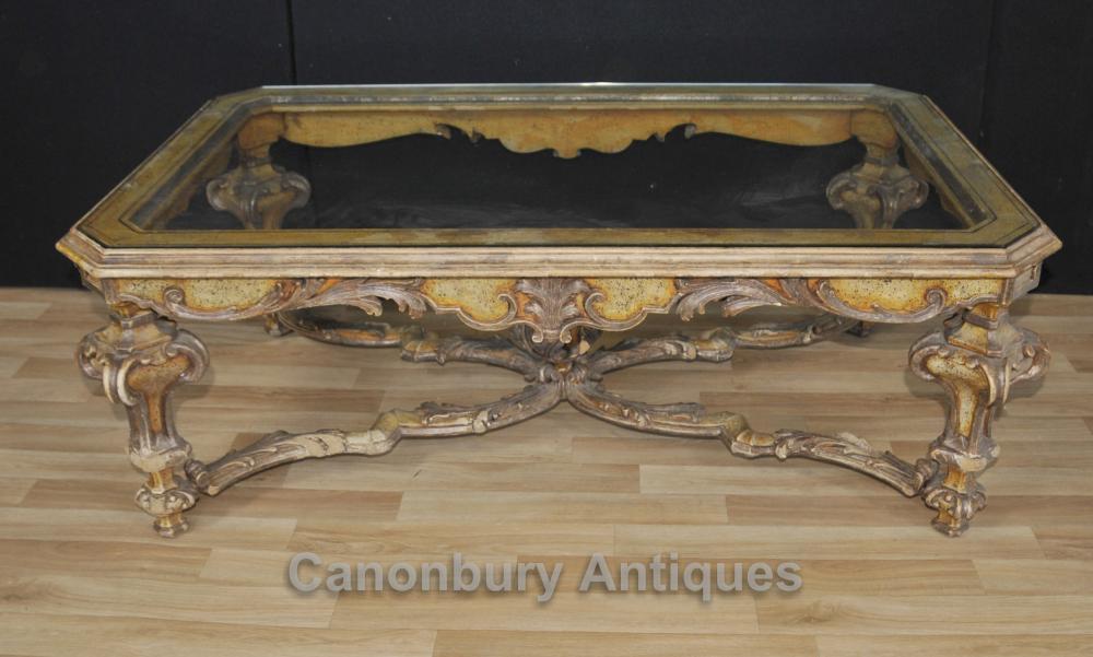 Italienisch Painted Barock Couchtisch mit Glasplatte Tische
