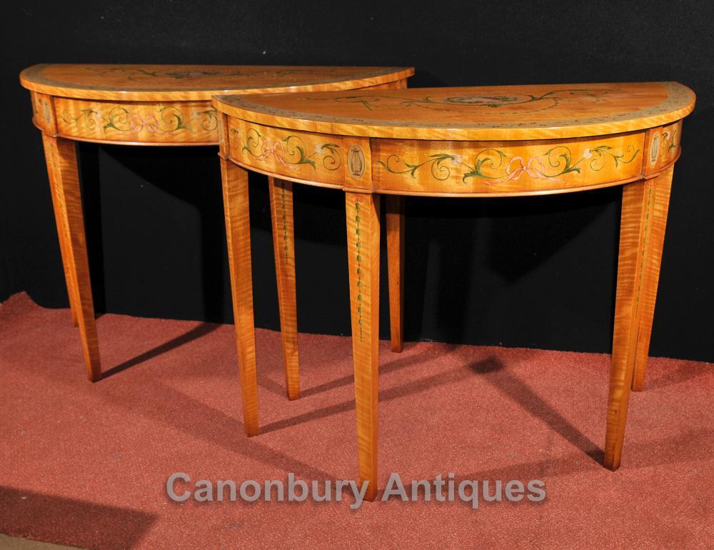 Paar Adams Konsole Tische Regency Demilune Painted Satinholz Möbel
