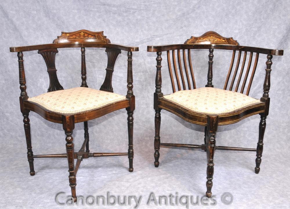 Paar Antique Victorian Corner Stühle Sessel Englisch