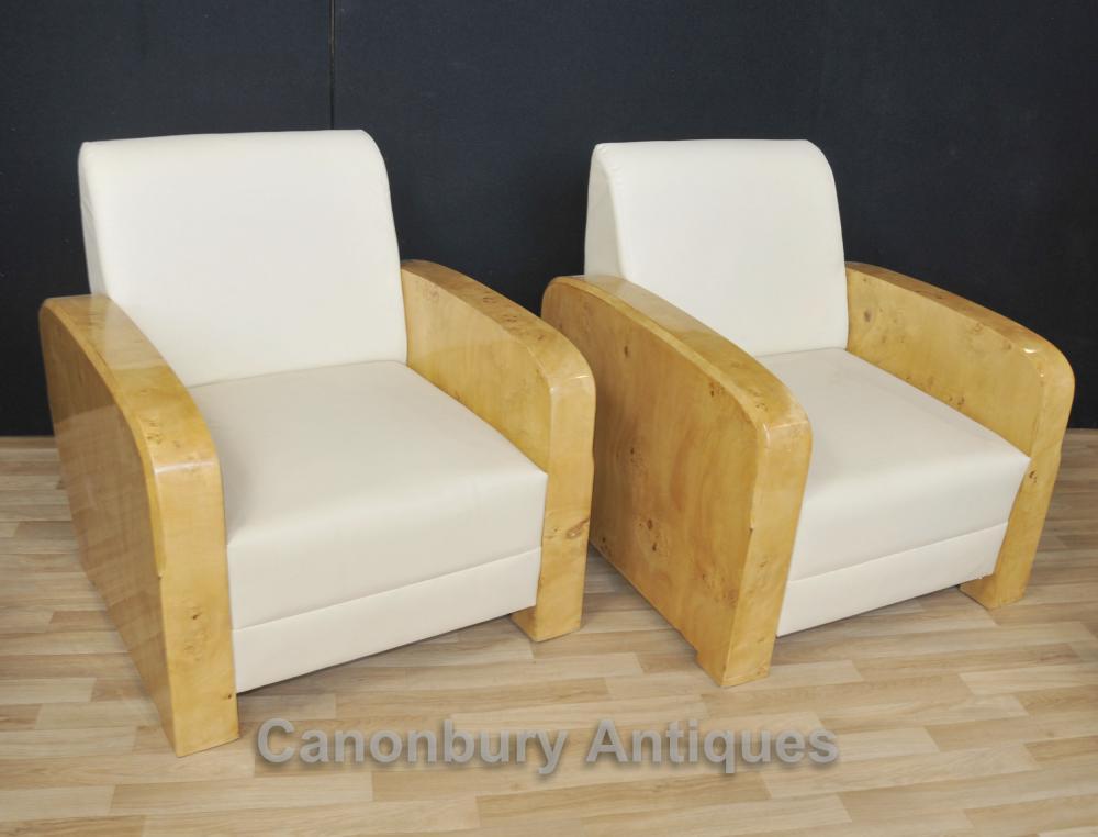 Paar Art Deco Clubsessel Sessel Sofa