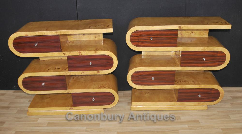Paar Art Deco S-förmige Regale Schränke Regal Kommode Schubladen
