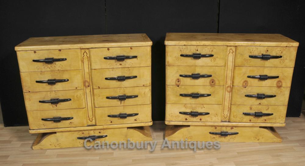 Paar Biedermeier Kommoden Schubladen Birdseye Maple Deco Kommode
