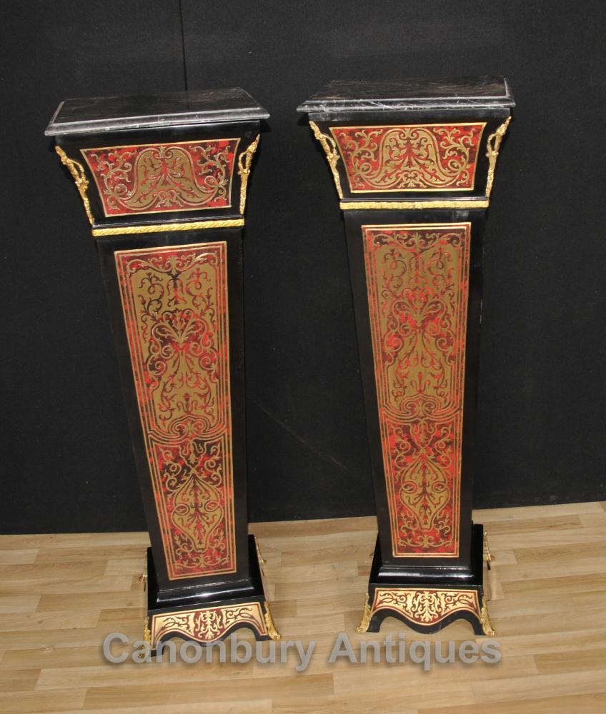 Paar Boulle Pedestal Ständer Säulen Unterstützt Louis XV Buhl Inlay