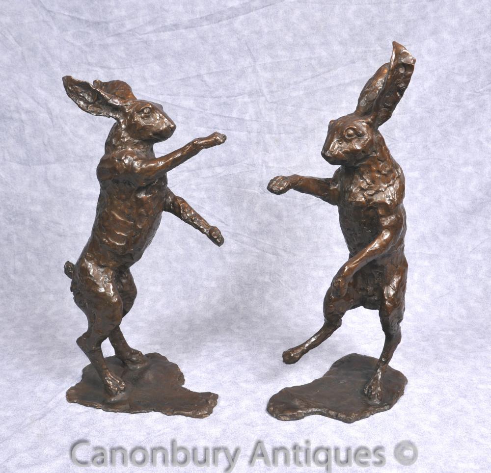Paar Bronze Tanzen Hare Statuen Englisch Hase-Kaninchen