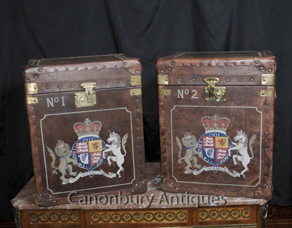 Paar Dampfer-Stamm Leder Gepäckboxen Cases Beistelltische