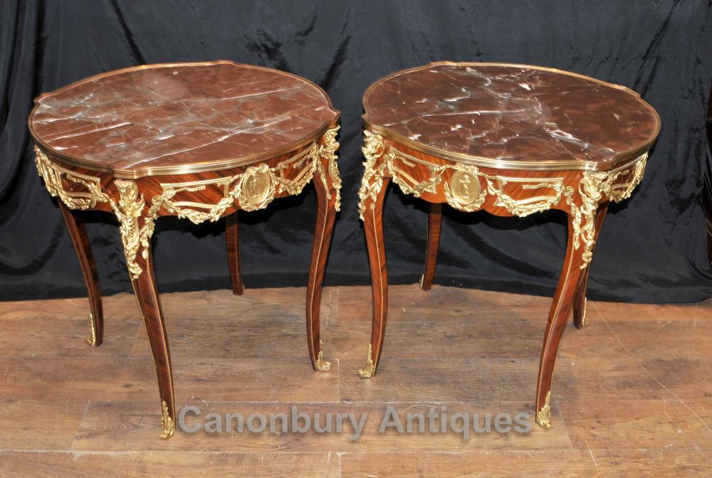 Paar Französisch Reich Beistelltische Cocktail-Tisch Ormolu MarmorPaar Französisch Reich Beistelltische Cocktail-Tisch Ormolu Marmor