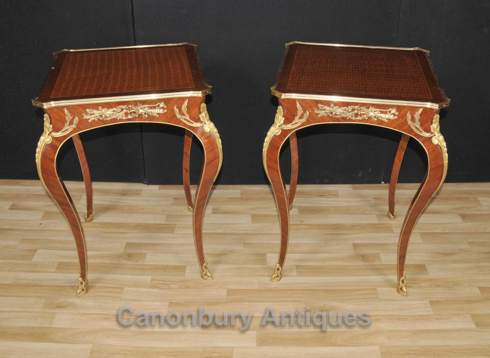 Paar Französisch Reich Louis XVI Side Cocktail Tische Intarsien