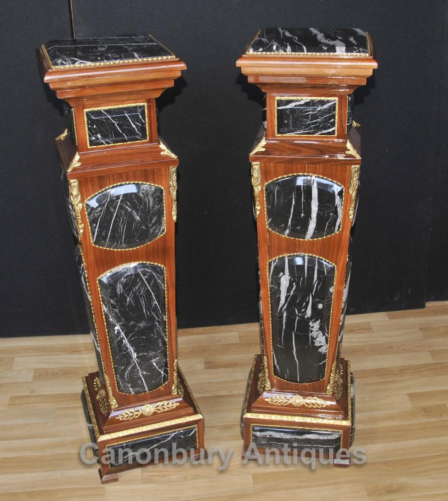 Paar Französisch Reich Marmorsockel Ständer Säulentische
