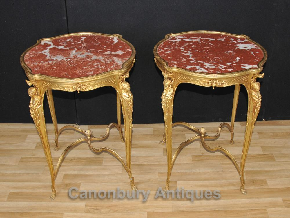 Paar Französisch Reich Ormolu Side Cocktail Tables Maiden Legs