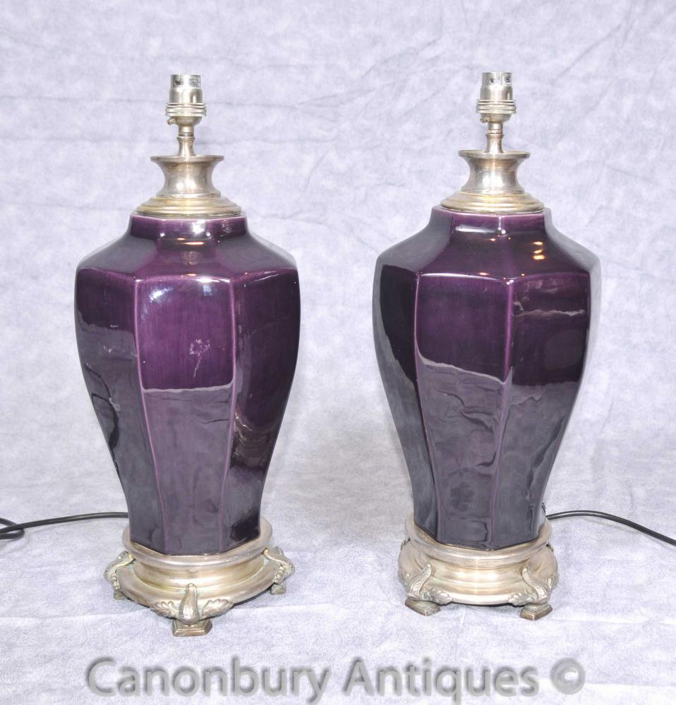Paar Französisch Reich Porzellan Lampensockel Silber Bronze Tischleuchte
