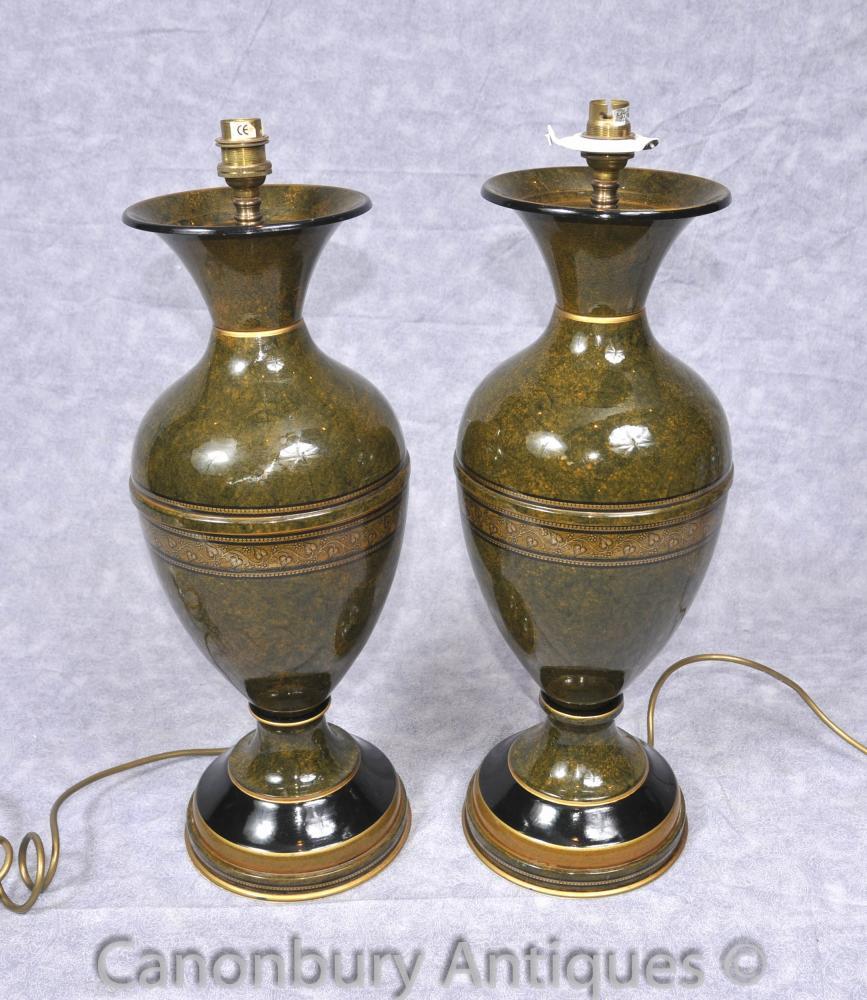 Paar Französisch Reich Porzellan Tischleuchten Leuchten Amphora Urn