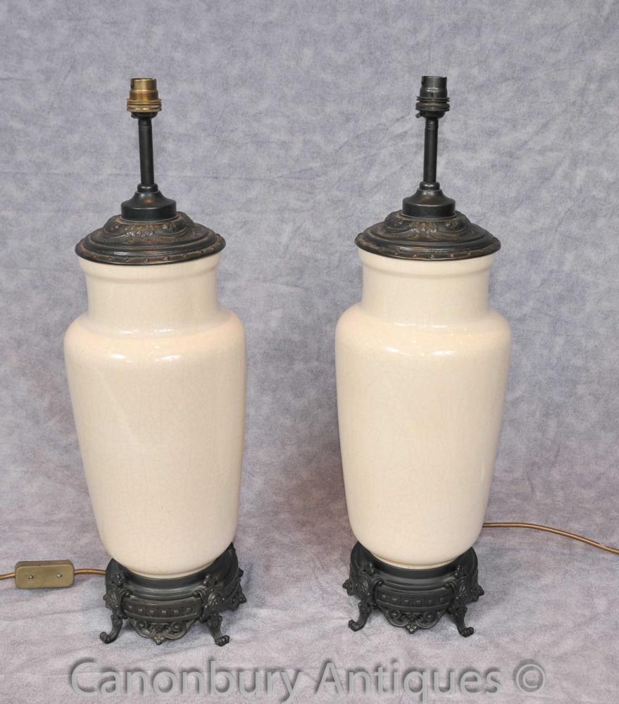 Paar Französisch Reich Porzellan Tischleuchten Lichtbasen