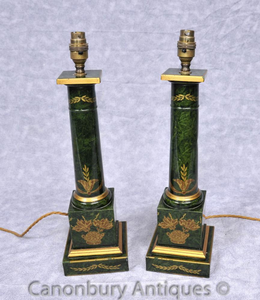 Paar Französisch Reich Porzellan Tischleuchten dorischen Säule Tempel Licht