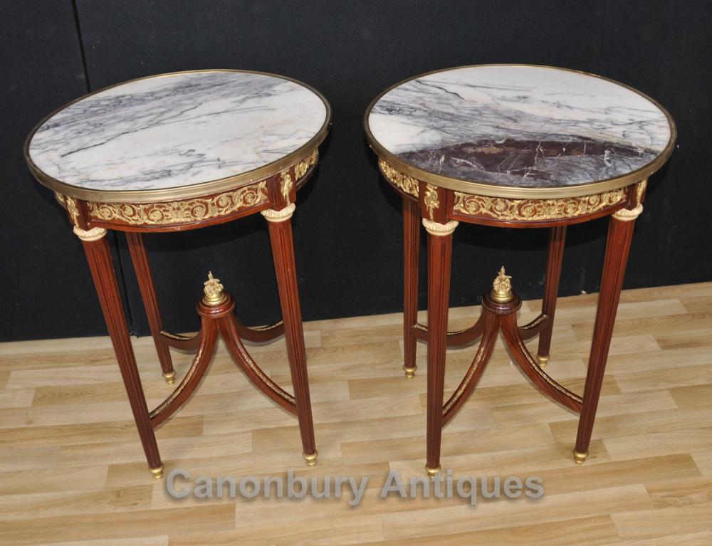 Paar Französisch Reich Runde Beistelltische Cocktail Möbel