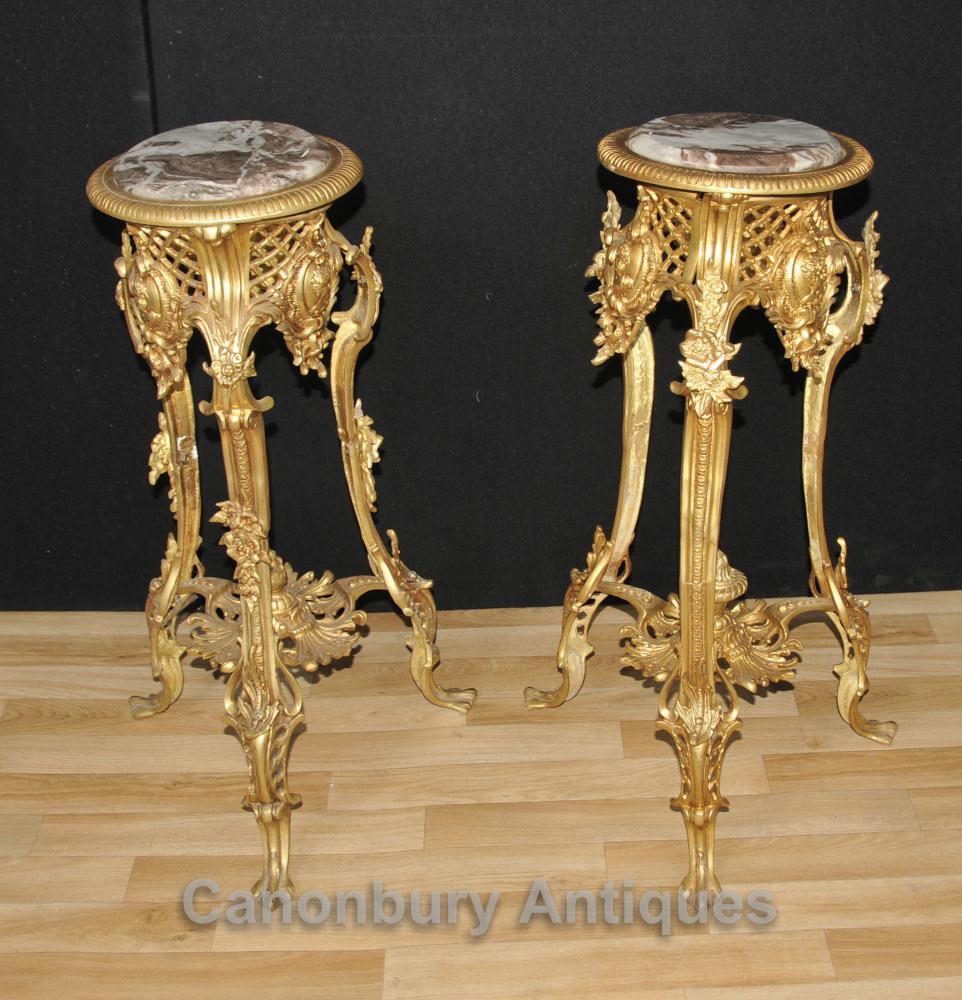 Paar Louis XVI Ormolu Pedestal Stehtische Möbel