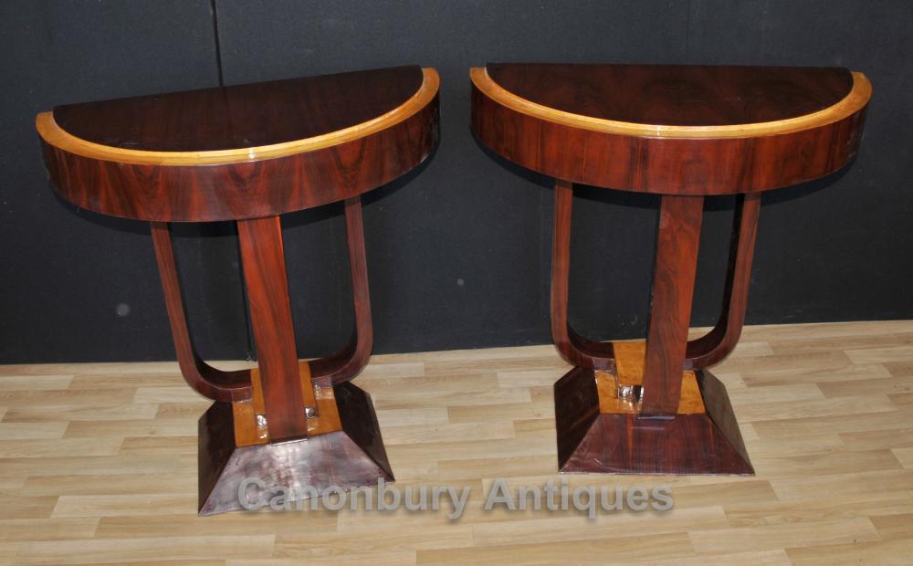 Paar Palisander Art Deco Konsolen Tische Halle Tabelle Modernist