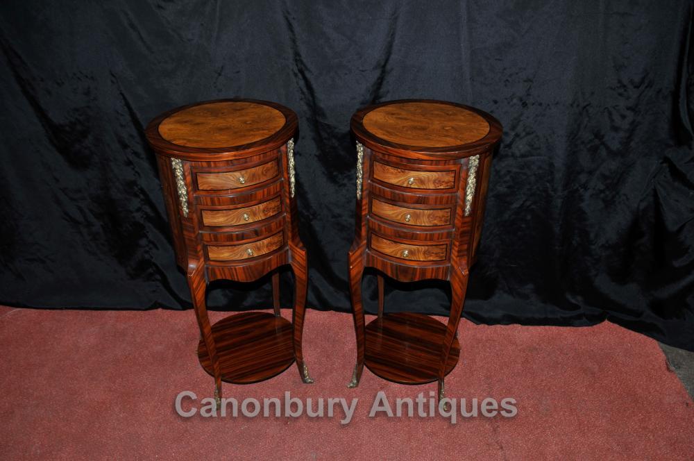 Paar Regency Nachtschränke Schubladen Nacht Nussbaum Tische