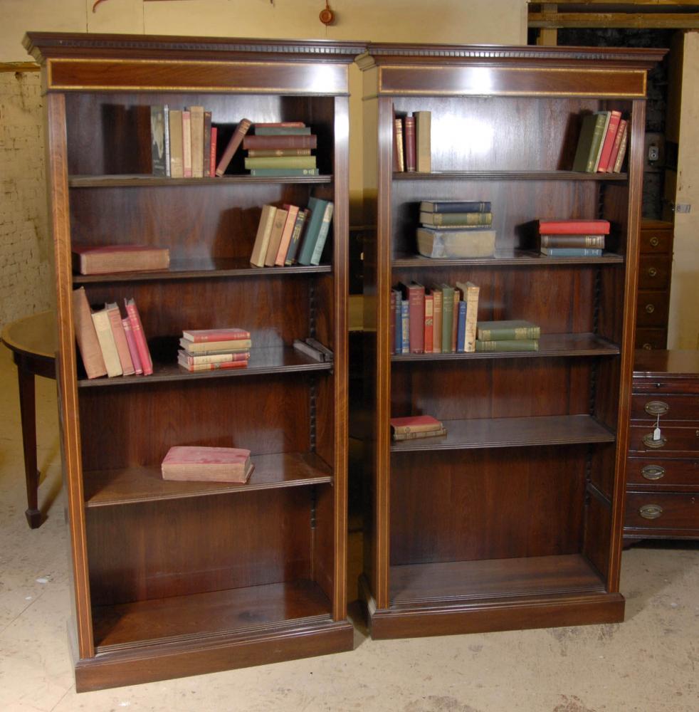 Paar Regency vorne offen Regale Mahagoni Bücherregal