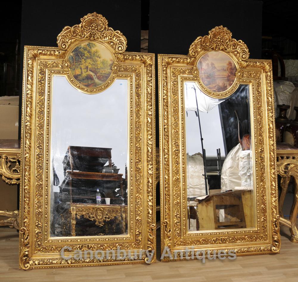 Pair Große Französisch Vergoldete Pier Spiegel Painted Plaketten Rokoko