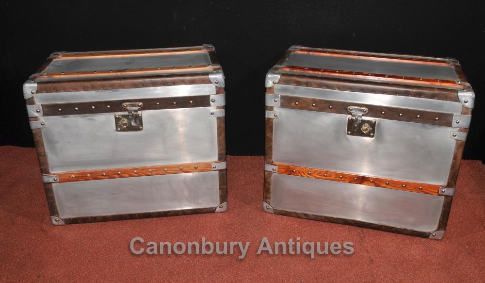 Pair Industrie Dampfer-Stamm Gepäck Box Beistelltische Hüllen