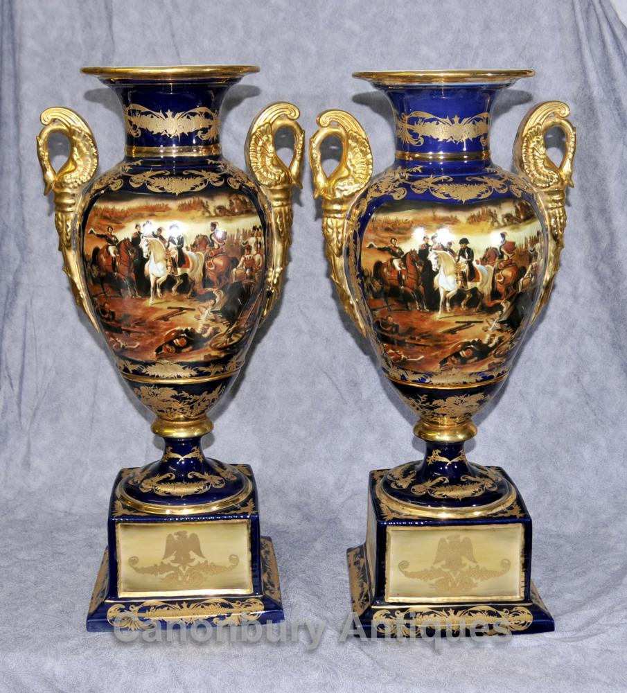 Pair Paris Sevres Napoleon Amphora Urnen Vasen