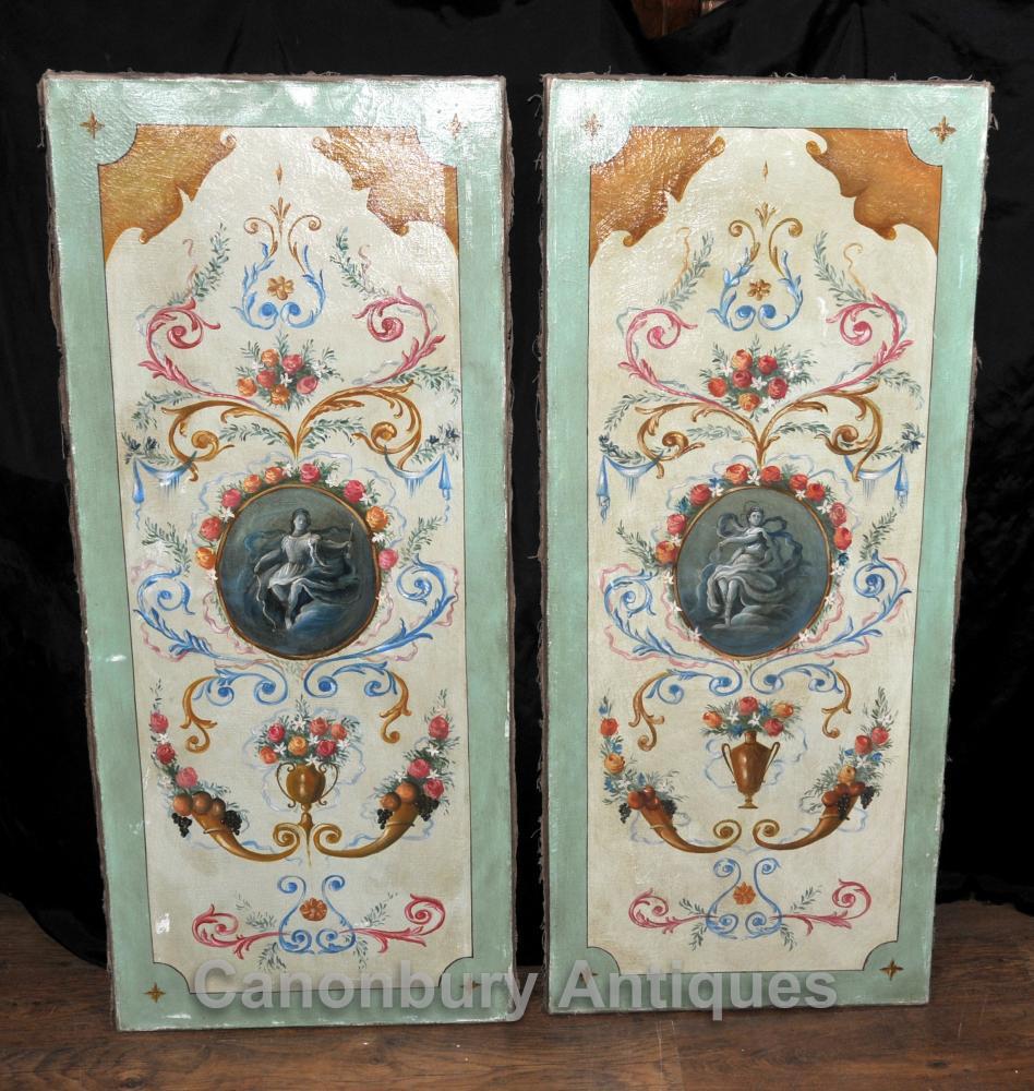 Pair von Hand bemalt italienischen Renaissance-Bildschirme Ölgemälde Boards