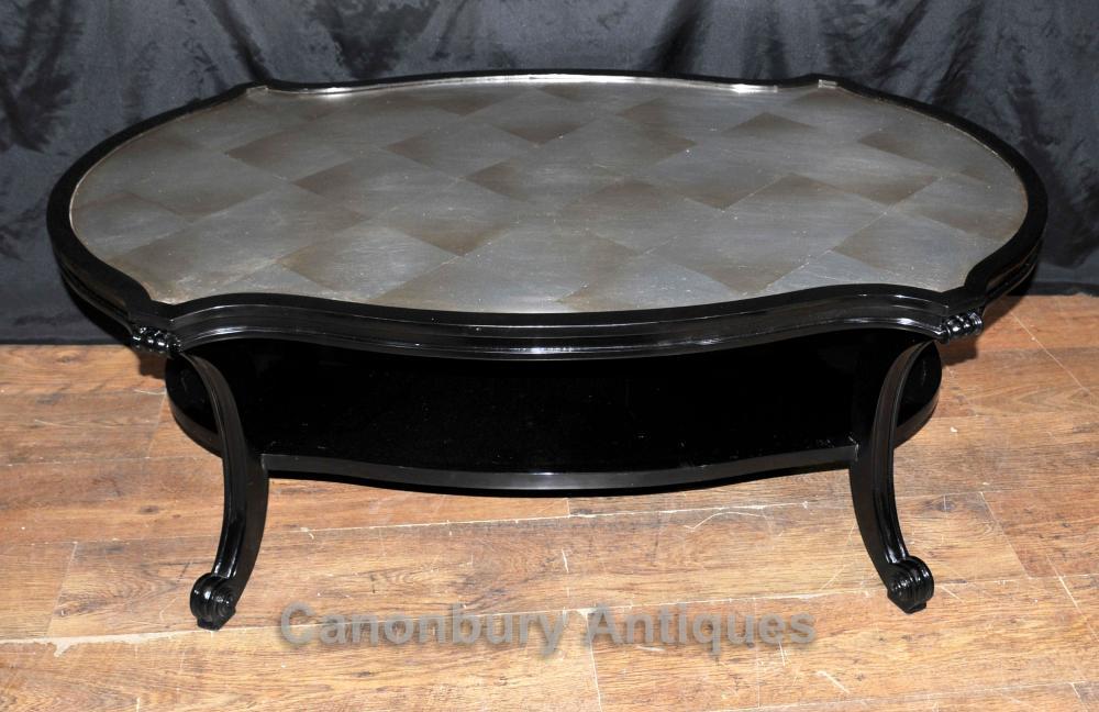 Regency Black Lacquer Couchtisch Möbel Interiors