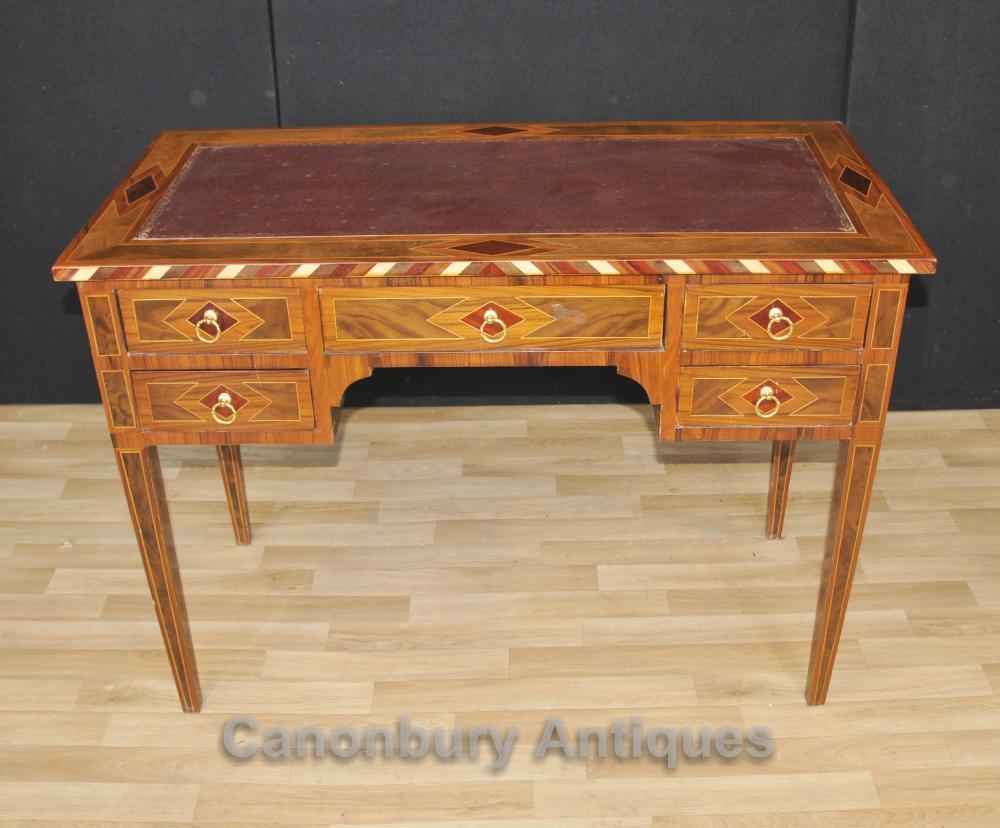 Regency Knie Loch Schreibtisch Marquetry Intarsien Schreibtisch Bureau