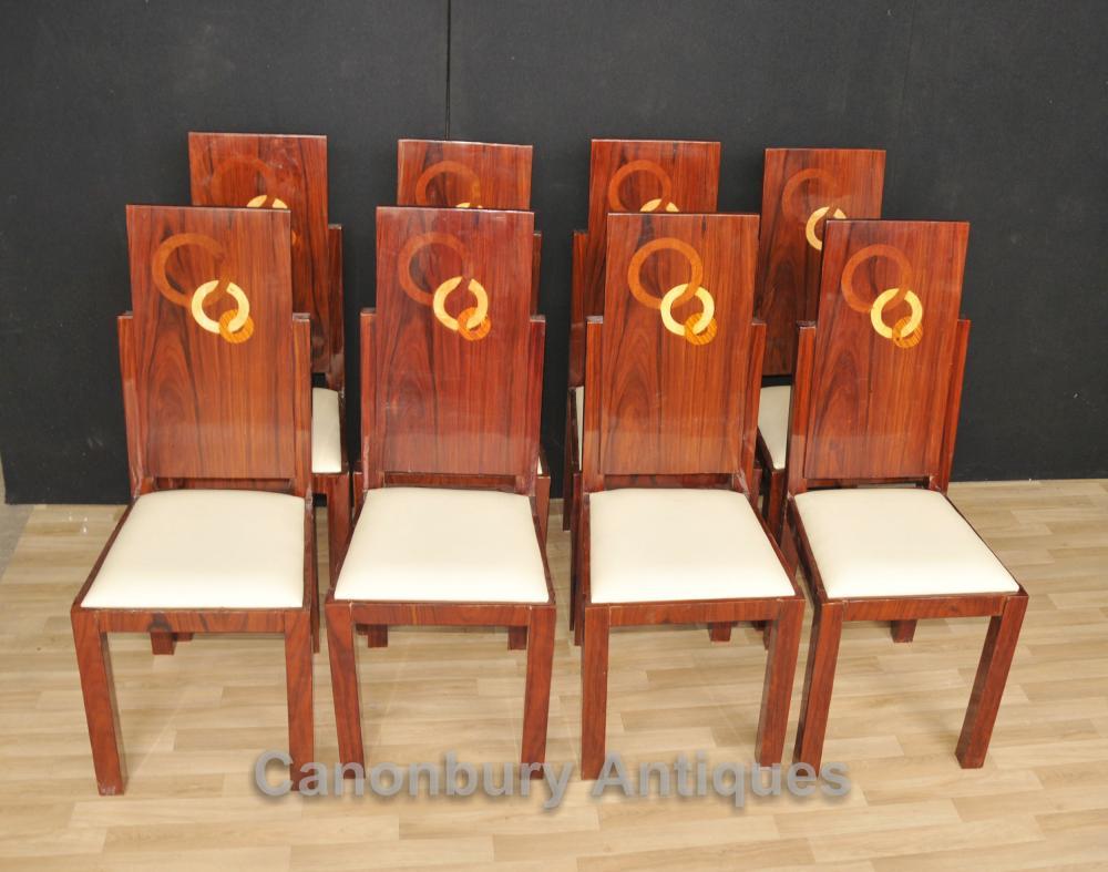 Set 8 Art Deco Esszimmerstühle Palisander Sitze Intarsien