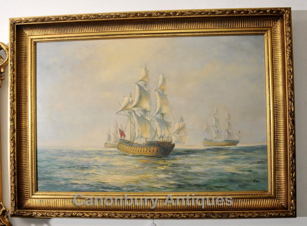 Victorian Ölgemälde Scherer-Schiff Seascape Maritime Kunst