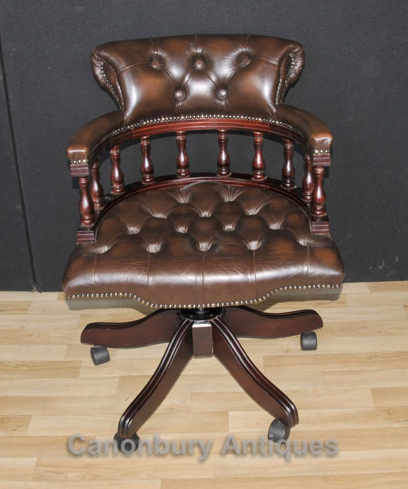 Victorian Captains Chair Bürodrehstühle Schreibtisch mit Leder