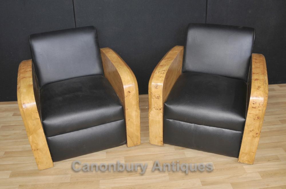 Paar Art Deco Sessel Stuhl Club Sofa 1920er Loungemöbel