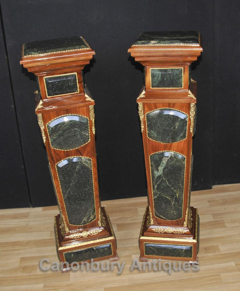 Paar Marmorsockel Ständer Beistelltische Französisch Reich Möbel
