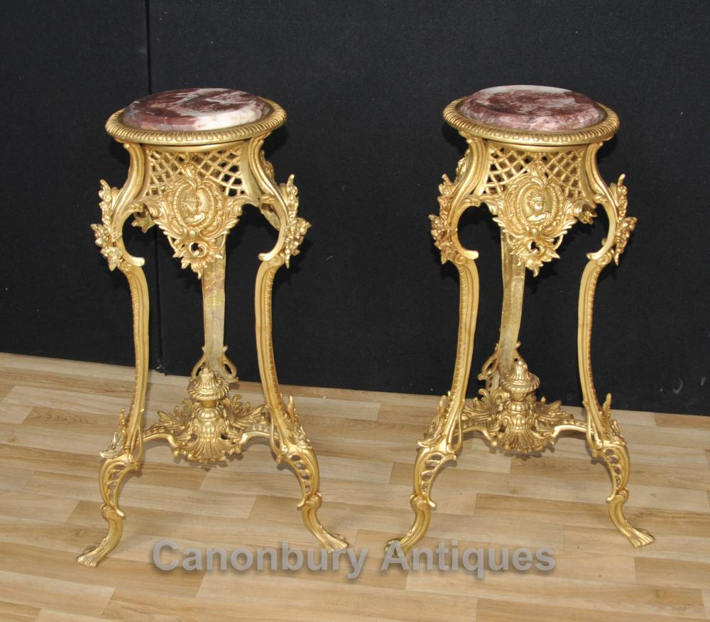 Pair French Louis XVI Ormolu Side Pedestal Table Stands