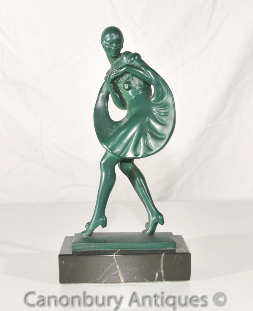 Antike Französisch Art Deco Bronze Tänzerin signiert Guerbe Le Verrier Foundry