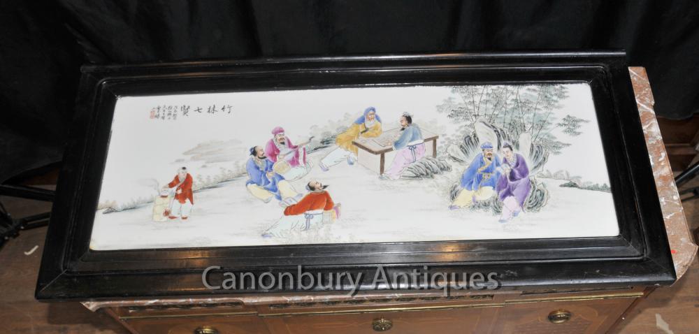 Antike chinesische Porzellan Plaque Screen Picture Handgemalte