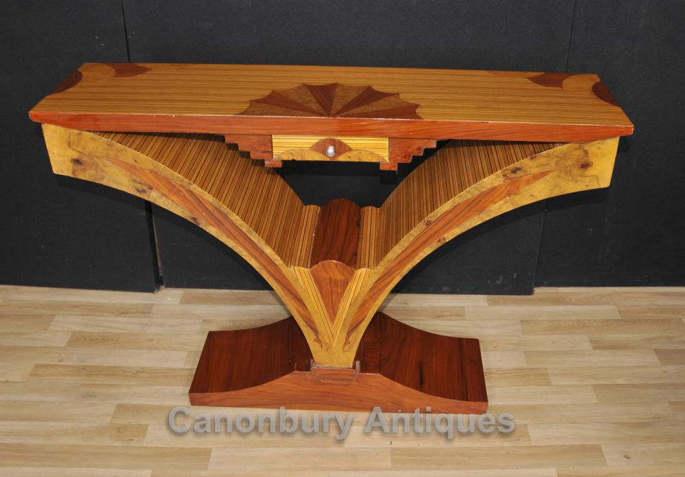 Art Deco Konsolentisch Birdseye Maple Inlay Modernist Tabellen
