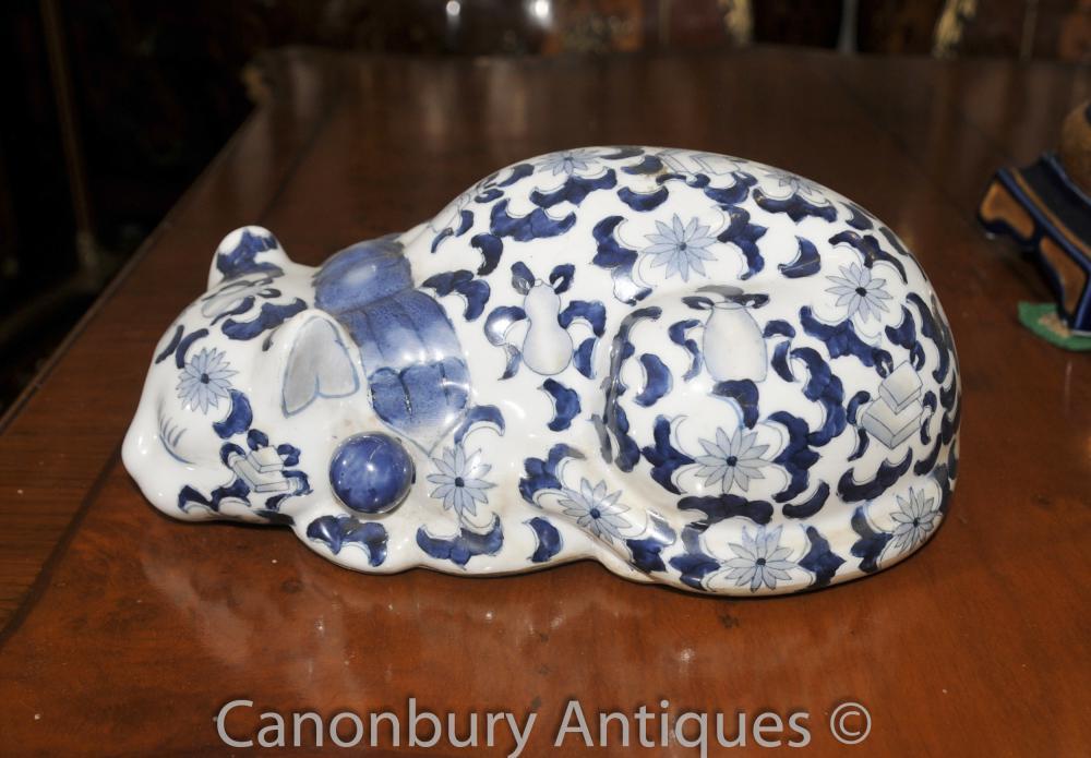 Chinesische blaue und weiße Porzellan-Ming-Katze