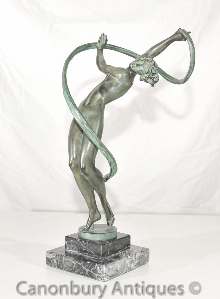 Die ursprüngliche Art Deco Bronzefigur Faguays Le Verrier Foundry