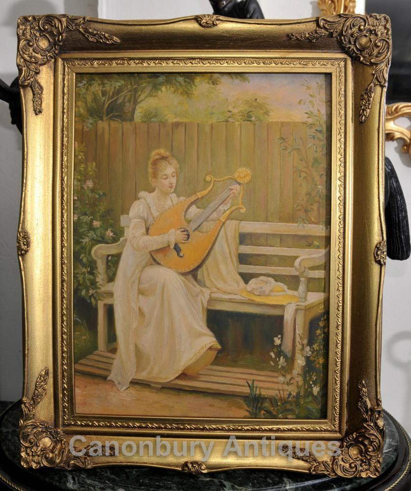 Edwardian Ölmalerei Maiden und Lyre Musik