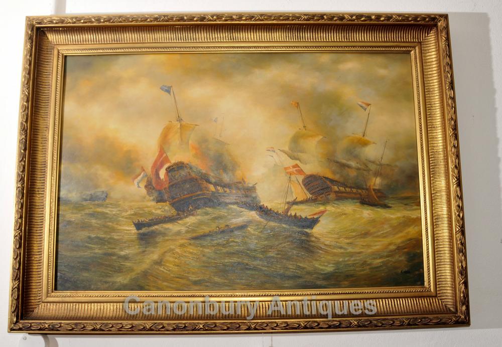 Englisch Ölgemälde Schlacht Trafalgar Maritime Kunst Marine-Schiff
