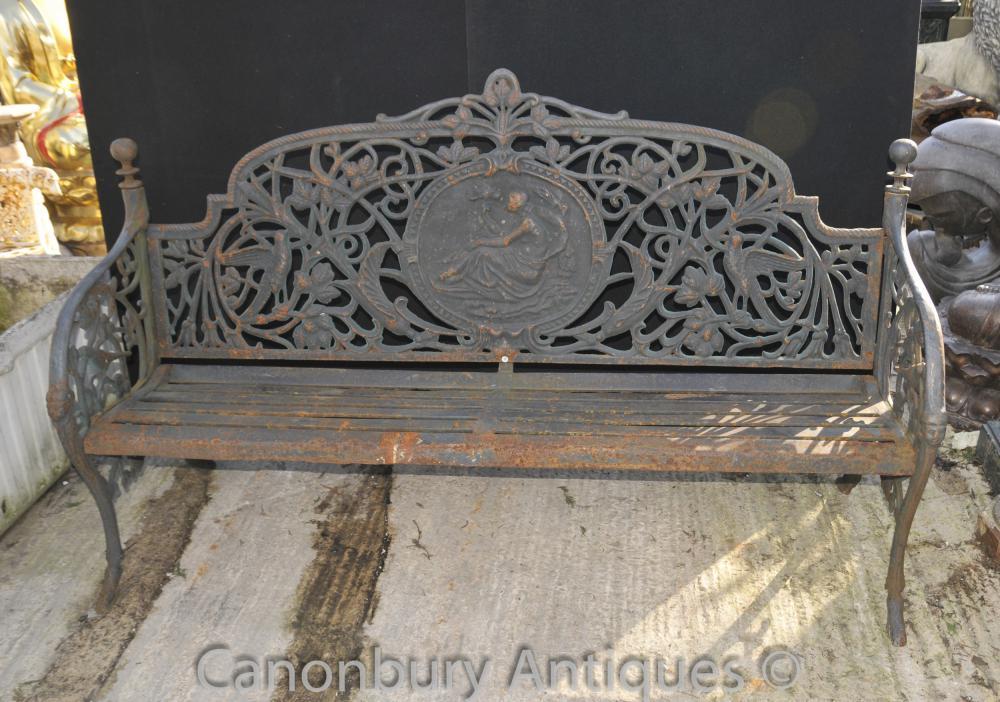 Englisch viktorianischen Gusseisen Gartenbank Architektursitz