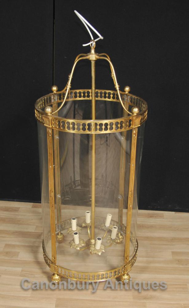 Französisch Empire Brass Lantern Glasleuchter -Beleuchtung-Licht