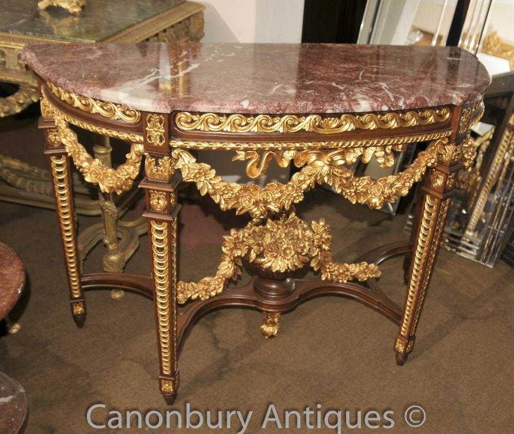 Französisch Louis XVI Gilts Demilune Konsolentisch Marmor Top