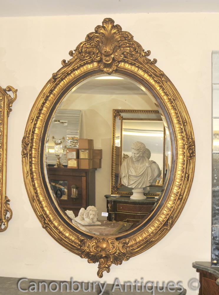 Französisch Louis XVI Gilts Oval Spiegelglas Pier Spiegel